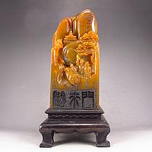 Superb Hand Carved Chinese Natural Shoushan Stone Seal Statue - Sages Meeting
