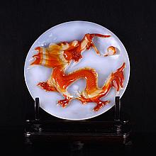 Superb Beautiful Color Chinese Natural Agate Plate Carved Dragon & Ball
