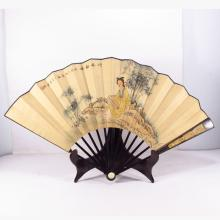 Chinese Hand Draw Painting Fan w Beautiful Girl & Rosewood Fan Frame