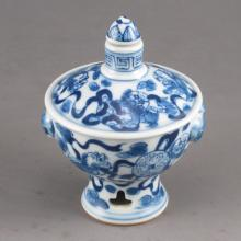 Hand-painted Chinese Biue And White Porcelain Snuff Bottle w Fortune Beast & Qian Long Mark