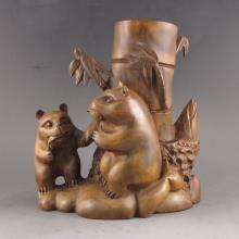 Hand Carved Chinese Natural Boxwood Hard Wood Bamboo Shape Brush Pot w Panda