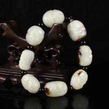 Hand Carved Chinese Natural Hetian Jade Arhat Head Bracelet