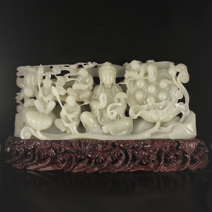 Superb Chinese Natural Hetian Jade Statue - Kwan-yin & Fortune Kids