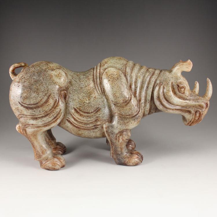 Vintage Chinese Hetian Jade Statue - Rhinoceros