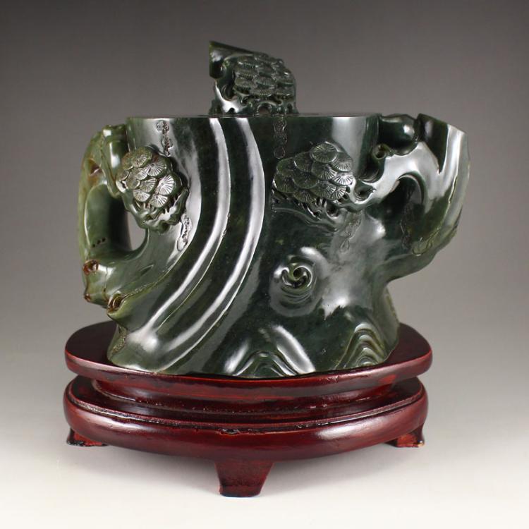 Vintage Chinese Qing Dynasty Deep Green Hetian Jade Teapot