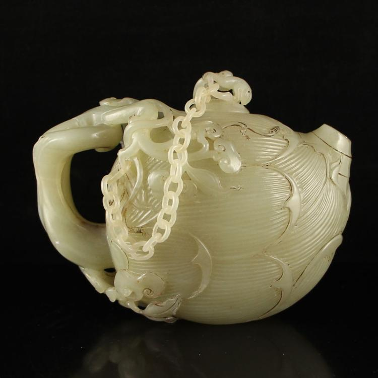Vintage Chinese Hetian Jade Monkey Peach Teapot