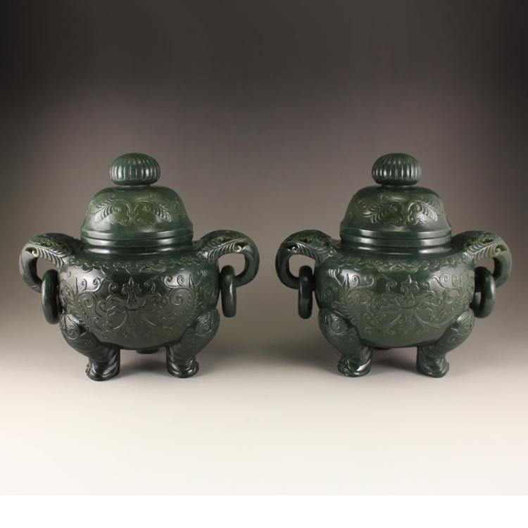 A Pair Chinese Deep Green Hetian Jade Low Relief Double Rings Incense Burner