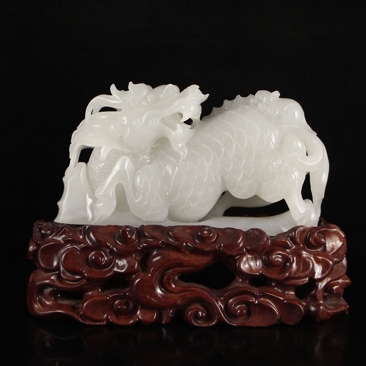 Superb Chinese Hetian Jade Statue - Kylin
