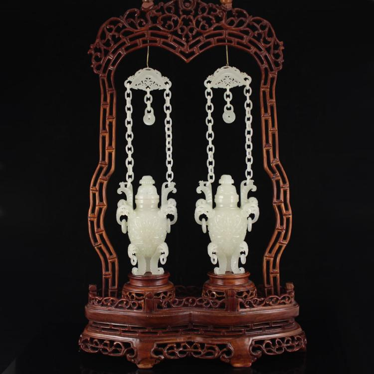 A Pair Chinese Hetian Jade Low Relief Braced Chain 3 Legs Incense Burner
