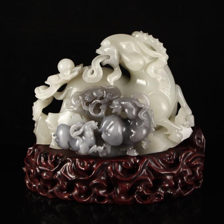 Superb Chinese Hetian Jade Statue - Ruyi Sheep