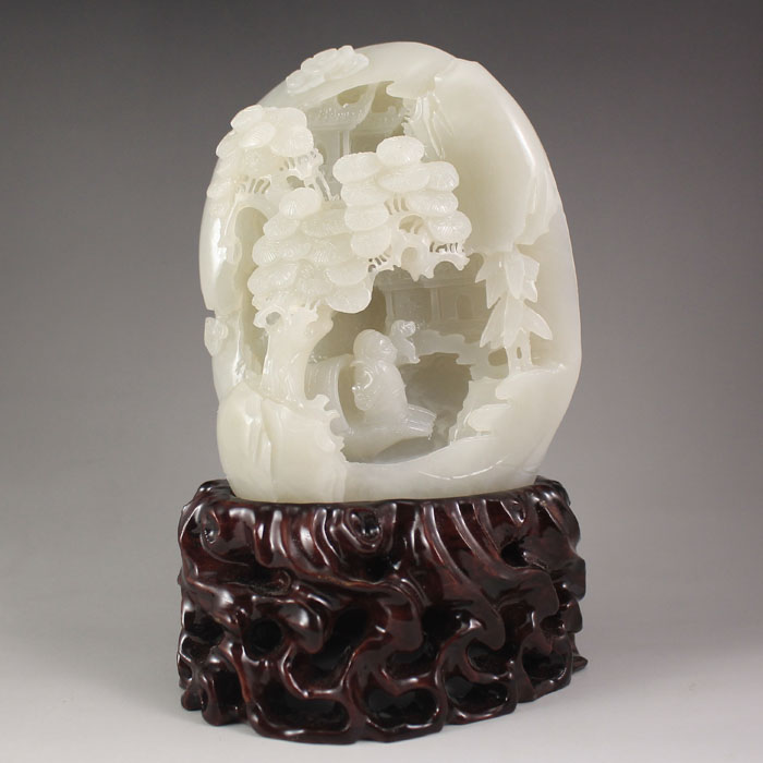 Chinese Natural Hetian Jade Statue - Sage & Pine Tree