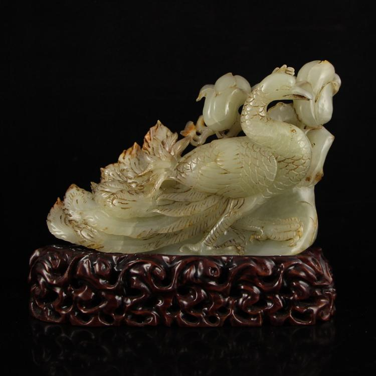 Vintage Chinese Qing Dy Hetian Jade Statue - Peacock
