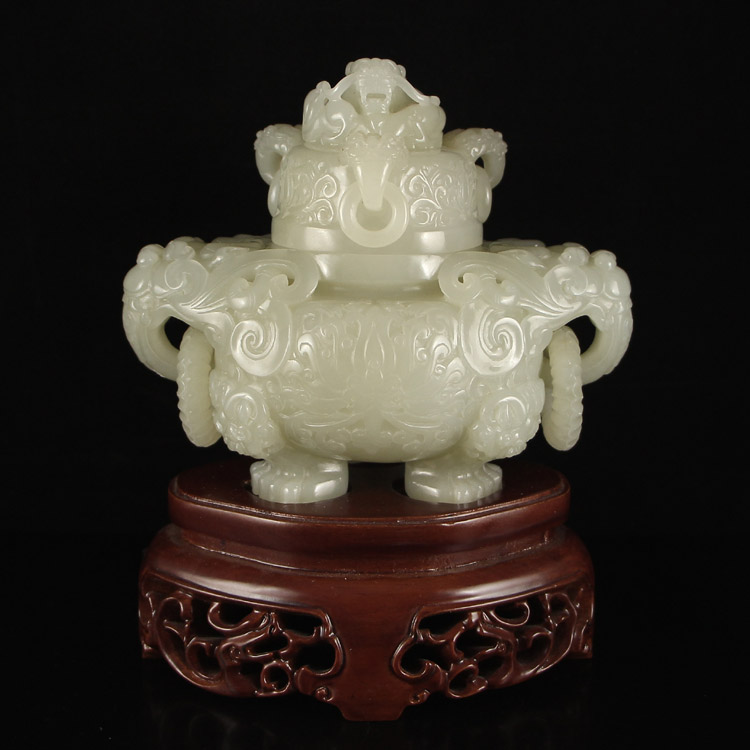 Superb Chinese Hetian Jade Dragon Head 3 Legs Incense Burner