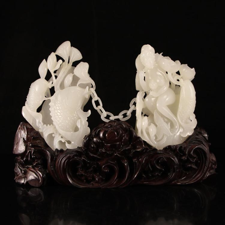 Openwork Chinese Hetian Jade Statue - Naked Woman & Fortune Fish