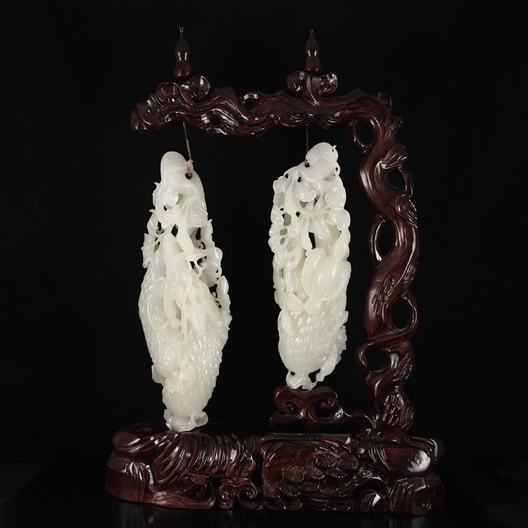 A Pair Hollow Out Carved Chinese White Hetian Jade Statue - Cucumber & Magpie