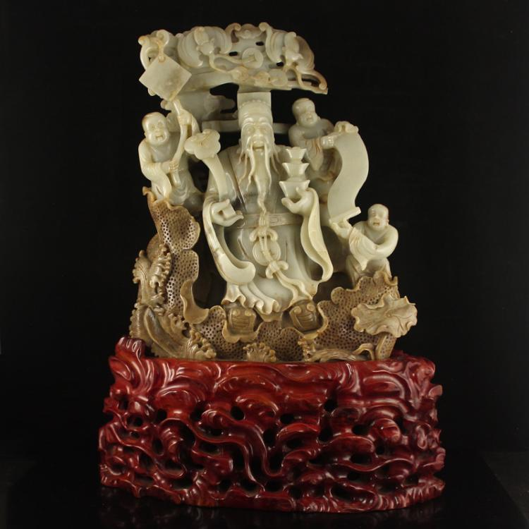 Vintage Chinese Qing Dynasty Hetian Jade Statue - Fortune Taoism Deity & Kids