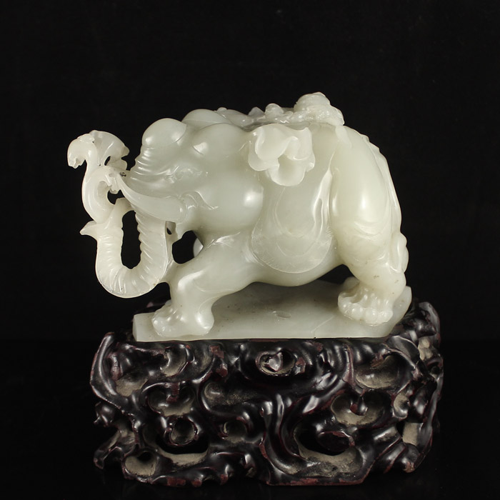 Chinese Natural White Hetian Jade Statue - Elephant & Kid