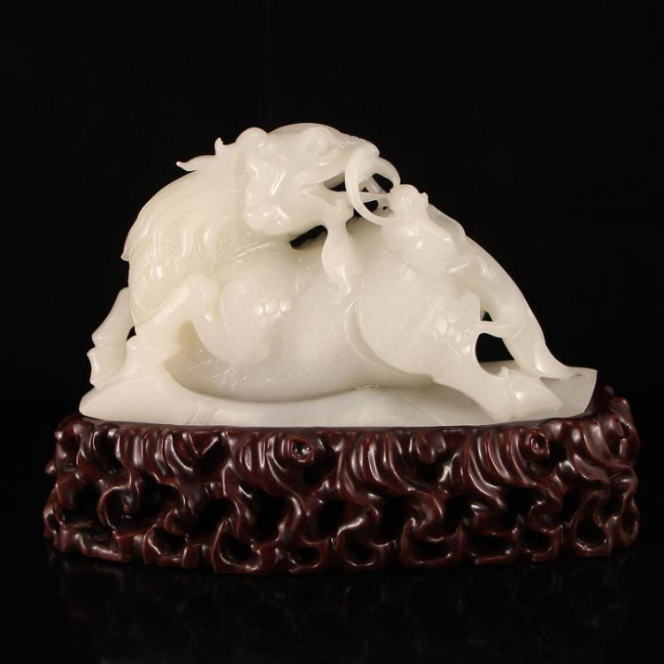 Superb Chinese Hetian Jade Statue - Fortune Kylin & Mouse