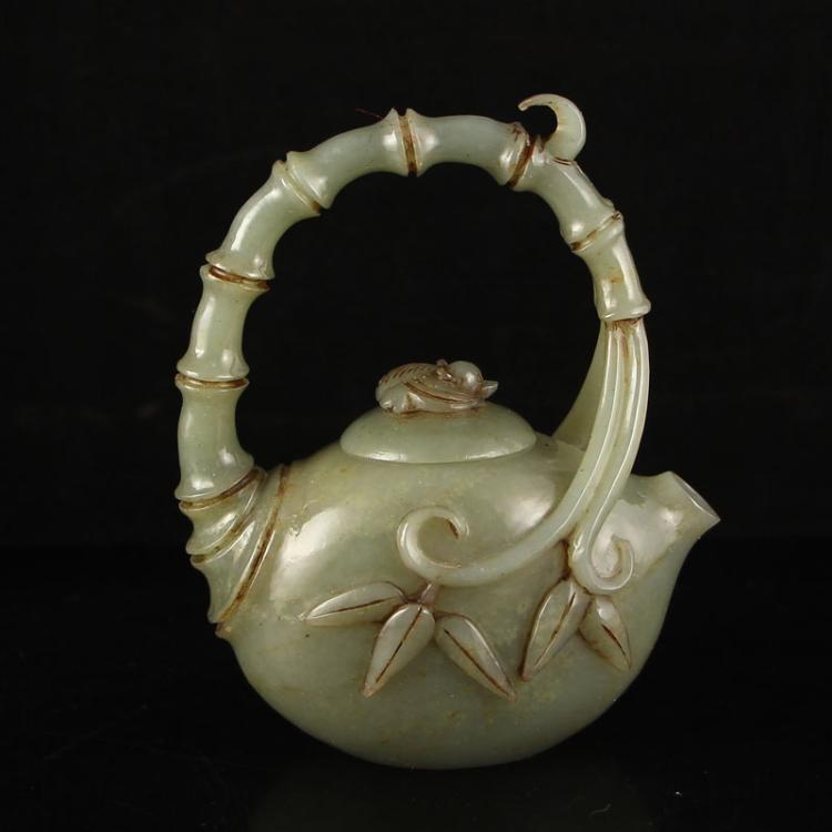 Vintage Chinese Hetian Jade Bamboo Style Teapots