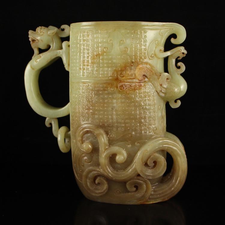 Vintage Chinese Hetian Jade Dragon Phoenix Big Cup