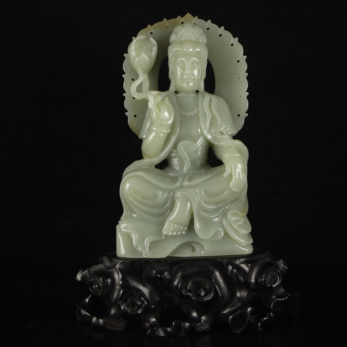 Superb Chinese Hetian Jade Lotus Kwan-yin Statue