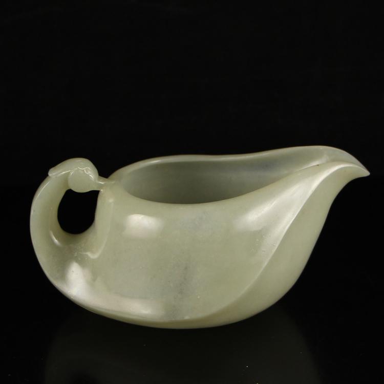 Vintage Chinese Hetian Jade Swan Teacup