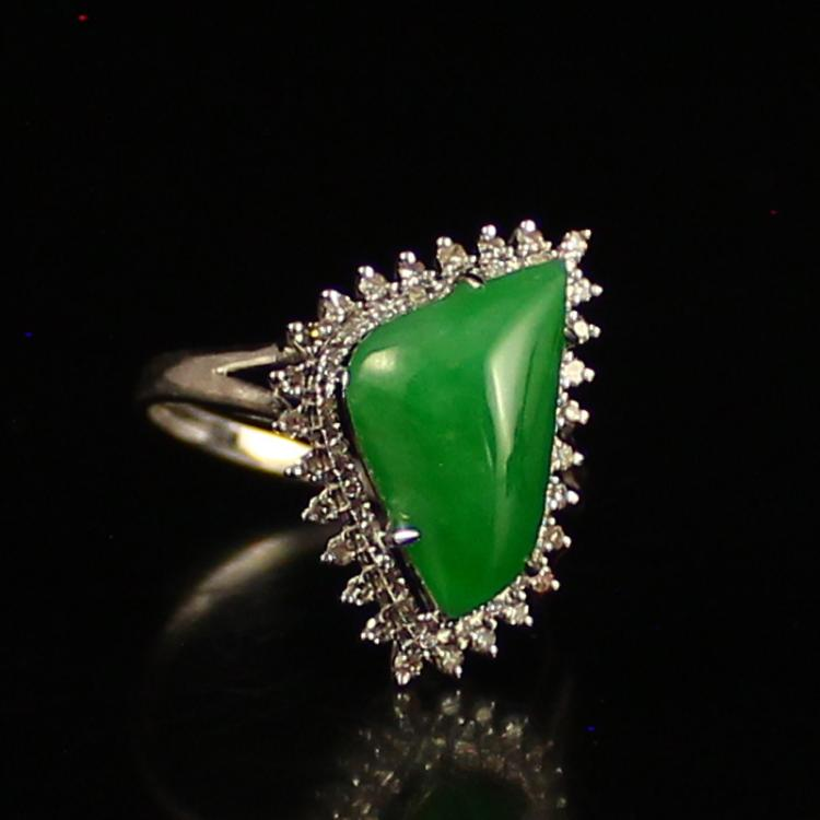18K Gold Inlay Natural Jadeite Diamond Ring w Certificate