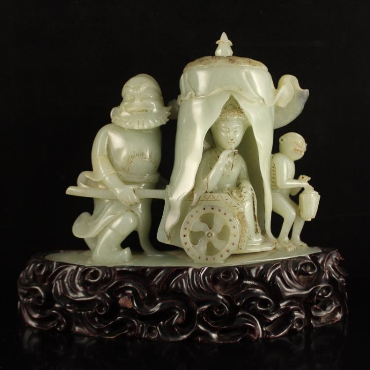 Chinese Qing Dynasty Hetian Jade Statue - Mythical Figure Zhongkui