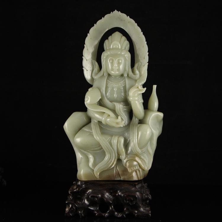 Chinese Qing Dy Hetian Jade Ruyi Kwan-yin Statue