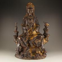 Vintage Chinese Gilt Gold Bronze Statue - Kwan-yin & Kid