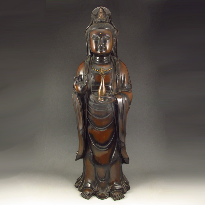 Vintage Chinese Red Copper Buddhist Kwan-yin Statue