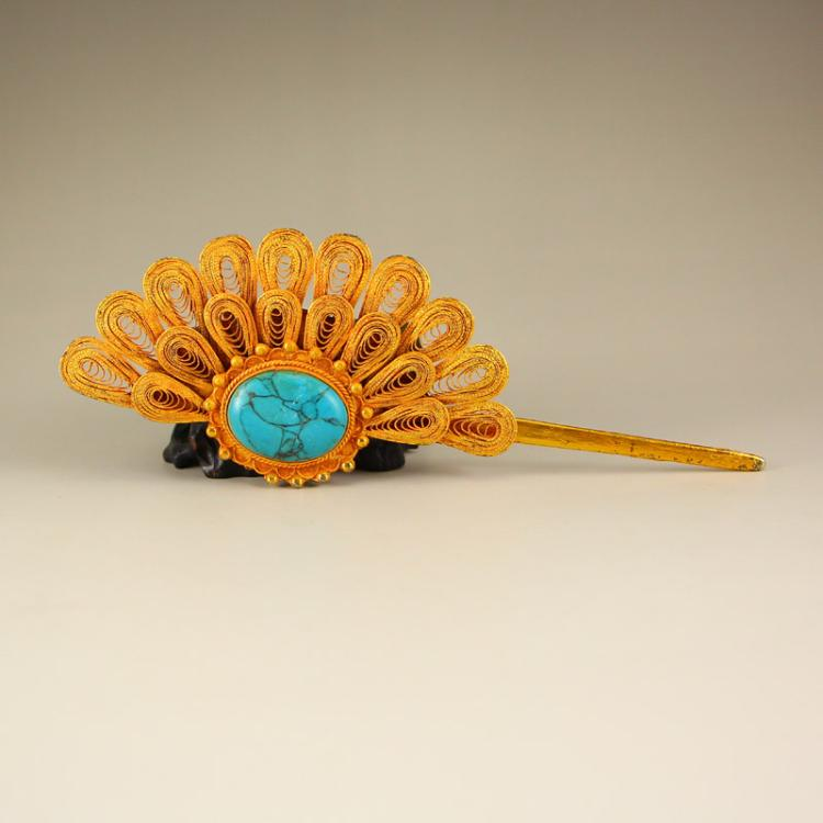 Chinese Gilt Gold Sterling Silver Inlay Turquoise Hairpin