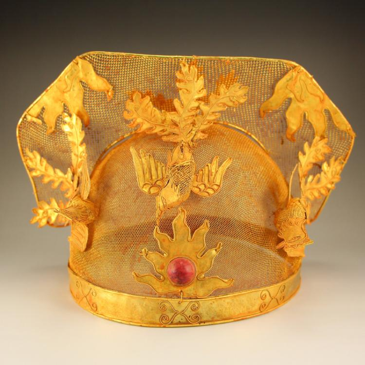 Chinese Liao Dynasty Gold Wire Phoenix Hat