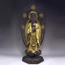 Vintage Chinese Bronze Gold-plated Sakyamuni Buddha Statue