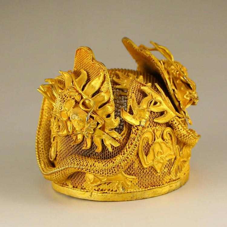 Chinese Liao Dynasty Gilt Gold Sterling Silver Lucky Dragon Imperial Crown