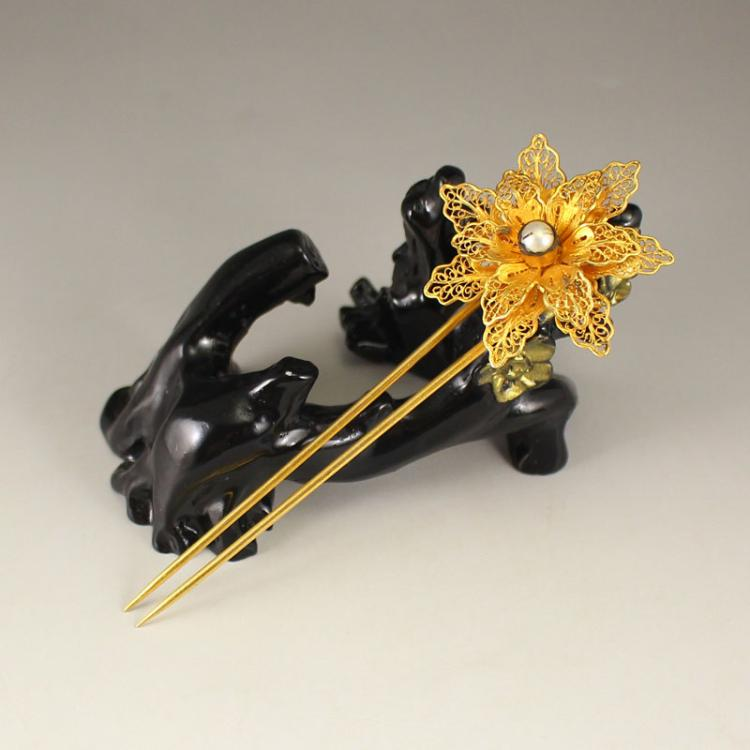 Chinese Gold-plated Sterling Silver Inlay Pearl Hairpin