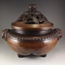 Vintage Chinese Qing Dynasty Red Copper Inlay Silver Wire Double Ears Lion Head 3 Leg Incense Burner
