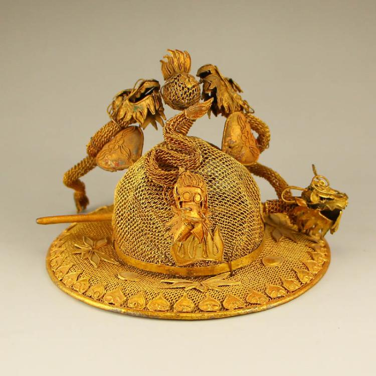 Chinese Liao Dynasty Gold Wire Lucky Dragon Hat