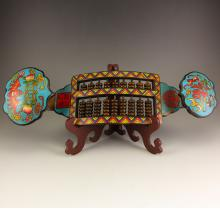 Vintage Chinese Qing Dynasty Bronze Cloisonne Ruyi Abacus