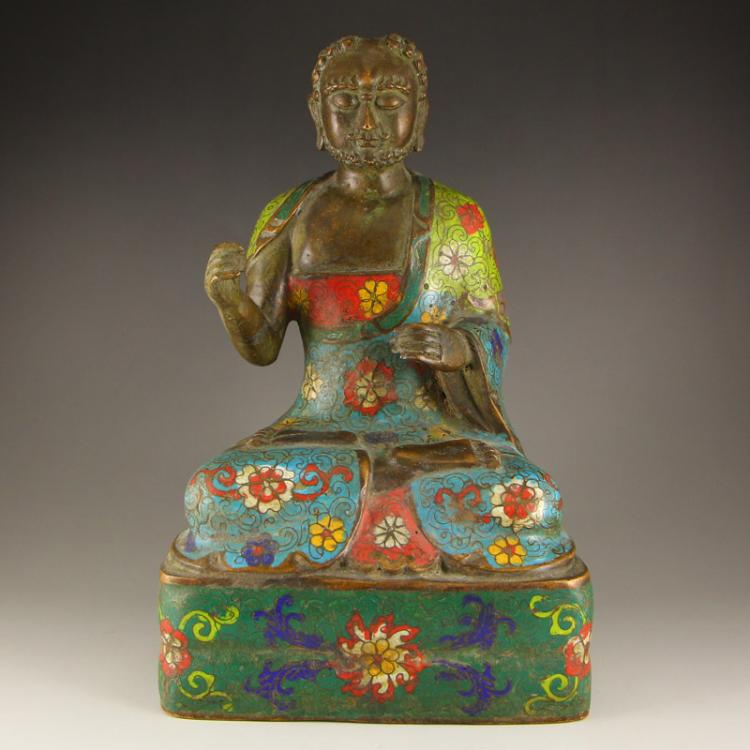 Chinese Bronze Cloisonne Buddhist Dharma Statue