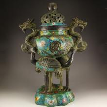 5 kg Chinese Qing Dynasty Bronze Cloisonne Double Dragons Incense Burner w Qian Long Mark