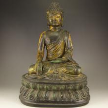 6 Kg Chinese Gilt Gold Bronze Siddhartha Buddha Statue