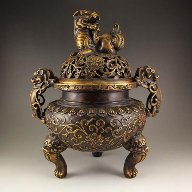 Chinese Bronze Double Ears 3 Legs Incense Burner w Xuande Mark