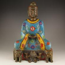 Vintage Chinese Bronze Cloisonne Kwan-yin Statue