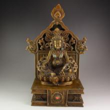 19Th C Chinese Tibet Bass Inlay Turquoise Yellow Jambhala Buddha Statue