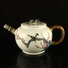 Superb Chinese Famille Rose Porcelain Teapot w Qianlong Mark