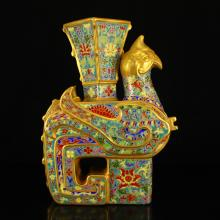 Superb Hand-painted Chinese Gilt Gold Enamels Porcelain Phoenix Vase w Qianlong Mark