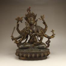 Chinese Tibet Bronze Eight Arms Kwan-yin Statue