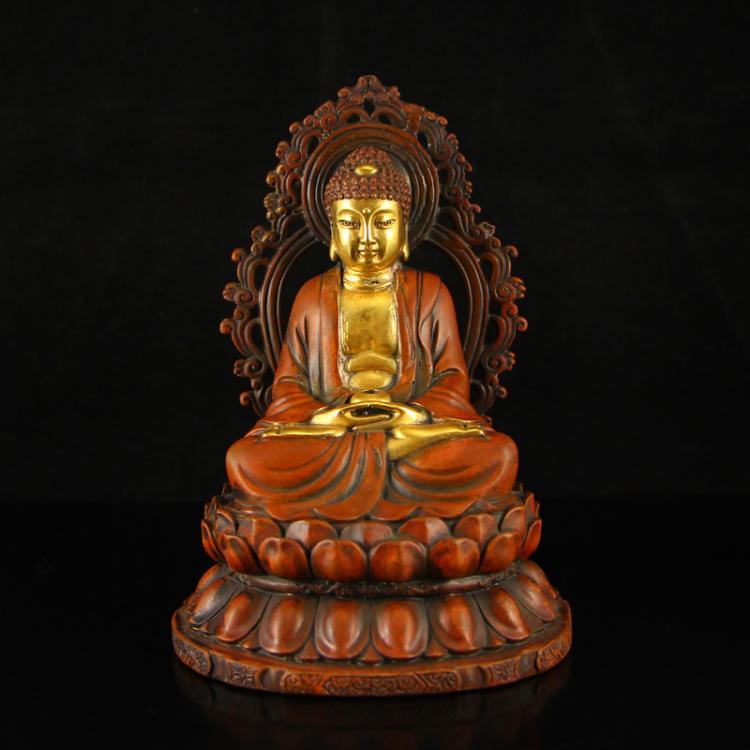 Chinese Ming Dynasty Gilt Gold Red Copper Siddhartha Buddha Statue