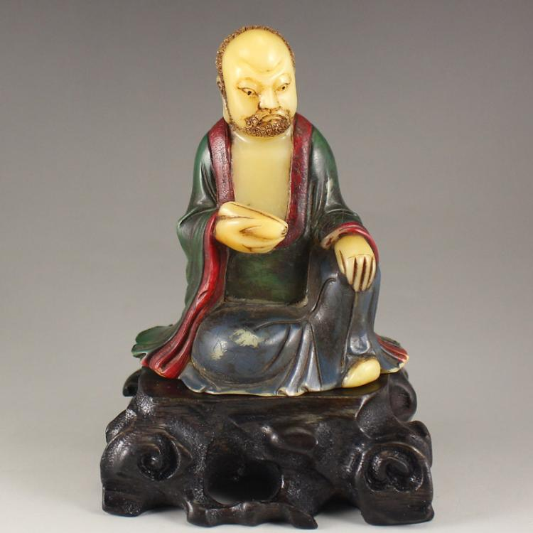 Vintage Chinese Colored Soapstone Arhat Statue